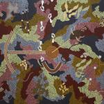 Clifford Possum<br />Love Story at Ngarlu, 1991,<br />Acrylic on Belgian linen,<br />122 x 152.5cm