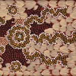 Clifford Possum/Billy Stockman<br />Bush Tucker Dreaming, collaboration board.  1984<br />Acrylic on board,<br />20 x 40cm